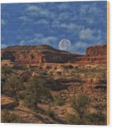 Full Moon Over Red Cliffs Wood Print