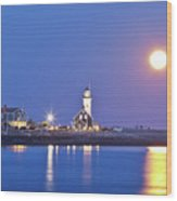 Full Moon Over Scituate Light Wood Print