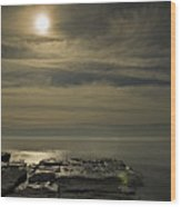 Full Moon Over Seawall Wood Print