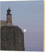 Full Moon Over Split Rock Wood Print