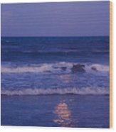 Full Moon Over The Ocean Wood Print