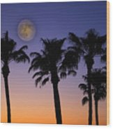 Full Moon Palm Tree Sunset Wood Print