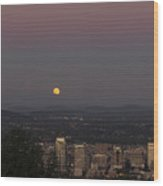 Full Moon Rising From The East Wood Print