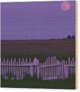 Full Moon Rising Over A Picket Fence Wood Print by Robert Madden