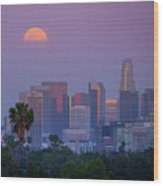 Full Moon Rising Over Downtown Los Angeles Skyline Wood Print