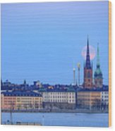Full Moon Rising Over Gamla Stan Churches In Stockholm Wood Print