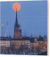 Full Moon Rising Over Gamla Stan In Stockholm Wood Print