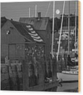 Full Moon Rising Over Motif  Number 1 Rockport Ma Black And White Wood Print