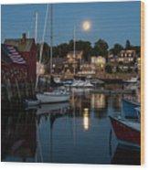 Full Moon Rising Over Motif  Number 1 Rockport Ma Moonrise Wood Print