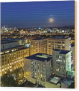 Full Moon Rising Over Portland Downtown Wood Print