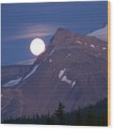 Full Moon Over The Rockies Wood Print