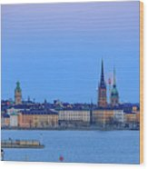 Full Moon Rising Over The Trio Of Gamla Stan Churches In Stockholm Wood Print