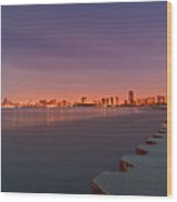 Full Moon Setting And Chicago Skyline Wood Print