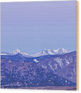 Full Moon Setting Over The Colorado Rocky Mountains Wood Print