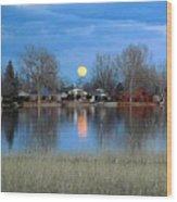 Full Moon Silver Lake Wood Print