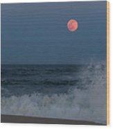 Full Moon Splash Seaside Nj Wood Print