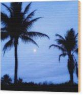 Full Moon Sunrise Wood Print