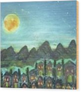 Full Moon Village Wood Print