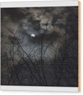 Full Moon With Clouds Wood Print
