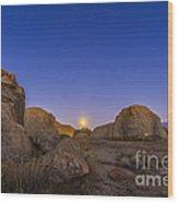 Full Moonrise At City Of Rocks State Wood Print