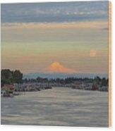 Full Moonrise Over Mount Hood Along Columbia River Wood Print
