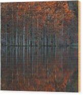 Full Of Glory - Cypress Trees In Autumn Wood Print