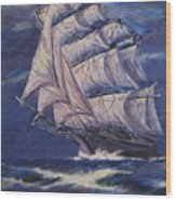 Full Sails Under Full Moon Wood Print