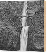 Full View Of Multnomah Falls Wood Print