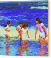 Fun At The Beach Wood Print
