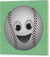 Fun Baseball Character Wood Print by MM Anderson