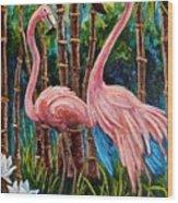 Fun Flamingos Wood Print