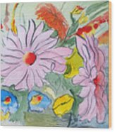 Fun Flowers Wood Print