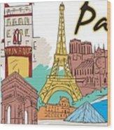 Fun Food And Folly In Paris Wood Print