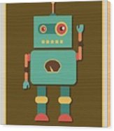 Fun Retro Robot Wood Print