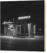 Funicular Ticket Booth At Night In Black And White Wood Print