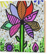 Funky Flower Mod Pop Wood Print