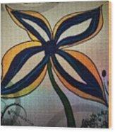 Funky Flower Wood Print