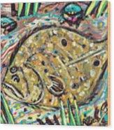 Funky Folk Flounder Wood Print