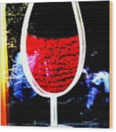 Funky French Red Wine Glass Wood Print