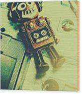 Funky Mixtape Robot Wood Print