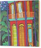 Funky Red House In New Orleans Wood Print