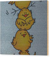 Funny Chickens Wood Print