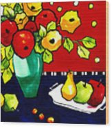 Funny Flowers And Fruit Wood Print