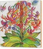 Funny Flowers On Green Plant Wood Print