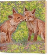 Funny Foxes .2007 Wood Print