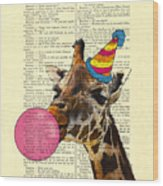 Funny Giraffe, Dictionary Art Wood Print