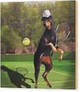 funny pet scene tennis playing Doberman Wood Print