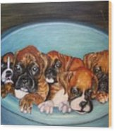 Funny Puppies orginal oil painting Wood Print