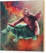 Funny Space Sloth Riding On Turtle Wood Print