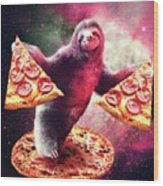 Funny Space Sloth With Pizza Wood Print